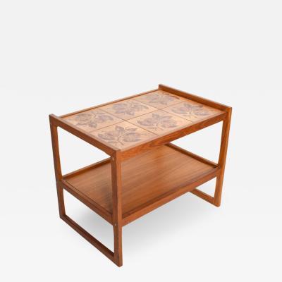 Modern Side Service Table in Teak Wood with Tile Top 1979 Ox Art DENMARK
