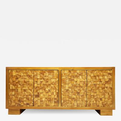 Modern Sideboard with Parquet Style wood Block Front