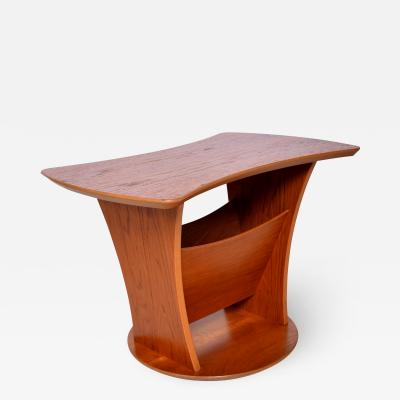 Modern Sophistication Sculptural Teak Side Table Magazine Holder Denmark