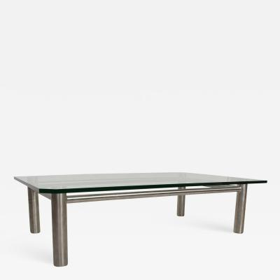 Modern Stainless Steel and Glass Coffee Table by Benchmark