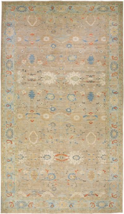 Modern Sultanabad Handmade Floral Pattern Beige Oversize Wool Rug