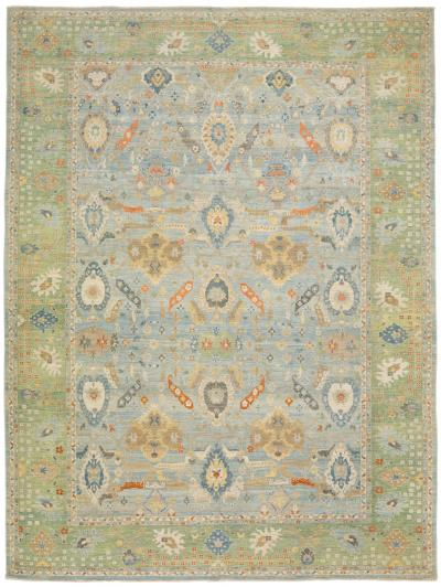 Modern Sultanabad Handmade Floral Pattern Blue And Green Oversize Wool Rug