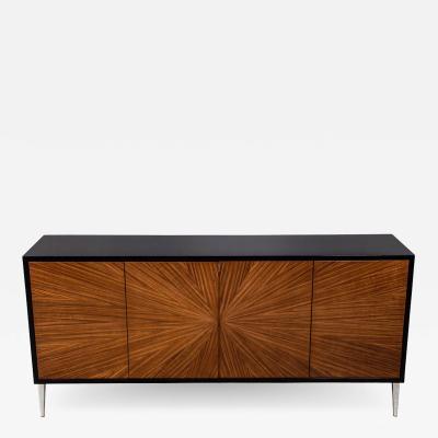 Modern Walnut Sunburst Sideboard Buffet Credenza