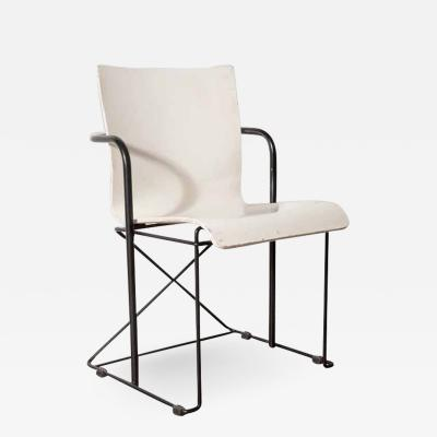 Modern White Bent Wood Black Metal Base Chair France c 1980