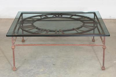 Modern Wrought Iron and Plate Coffee Table