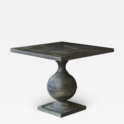 Modern Zinc Pedestal Table Mounted On Baluster Form Base with Square Top
