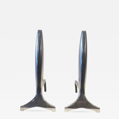 Modernist Aluminum Andirons