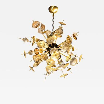 Modernist Brass Black Enamel Sputnik w Clear Gold Handblown Murano Glass