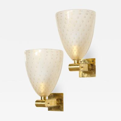 Modernist Brass Sconces with Hand Blown Murano 24 Karat Gold Glass with Murines
