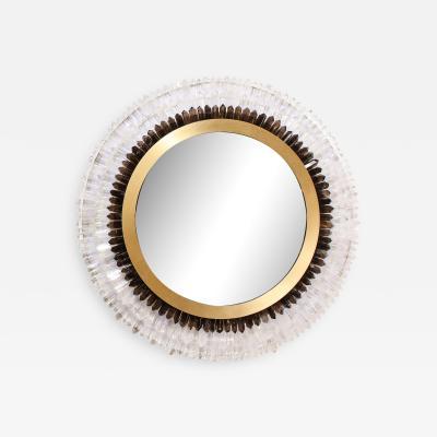 Modernist Brushed Brass White Smoked Rock Crystal Circular Wall Mirror