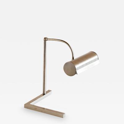 Modernist Brushed Steel Desk Lamp Netherlands 1930s