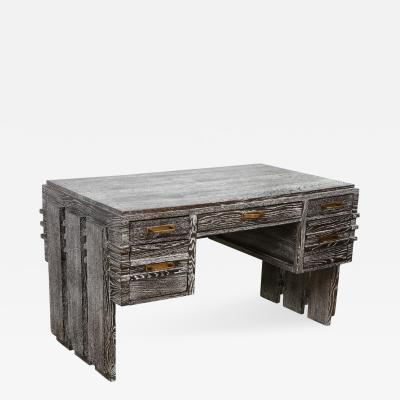 Modernist Cerused Oak Desk France 1950