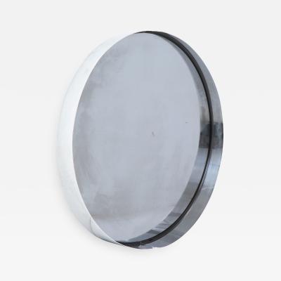 Modernist Chrome Mirror with Dark Grey Glass Italy c 1970s