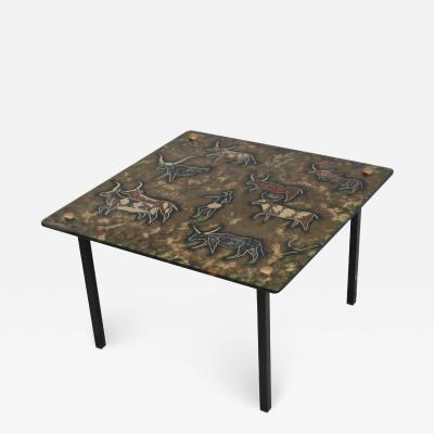 Modernist Eglomise Glass Top Low Side Table