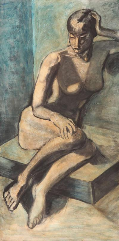 Modernist Female Nude Oil on Canvas