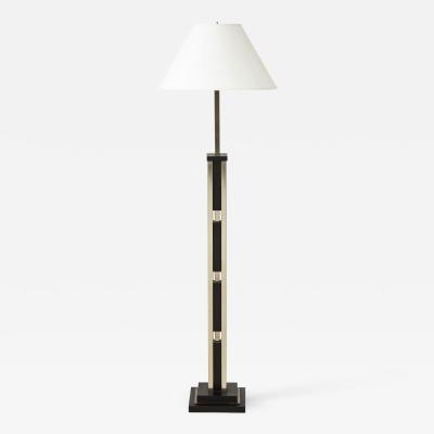 Modernist Floor Lamp with Ebonized Wood and Nickel Plated Steel Lucca and Co