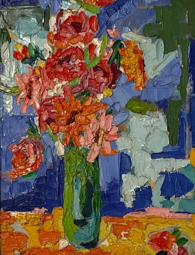 Modernist Floral Still Life Oil Painting