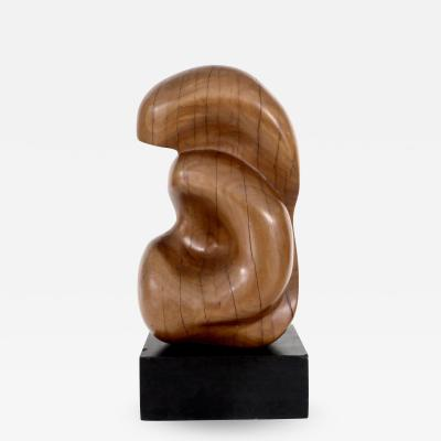 Modernist French Abstract Carved Wood Sculpture