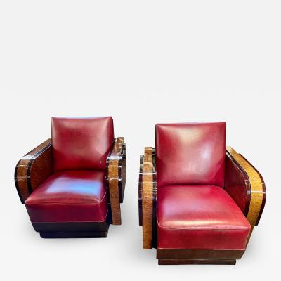 Modernist French Wood Leather Club Chairs