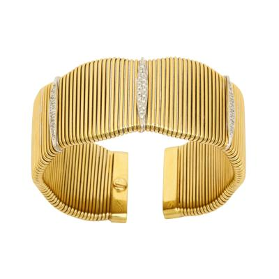 Modernist Gold with Three Diamond Cameos Set in White Gold Flexible French Cuff