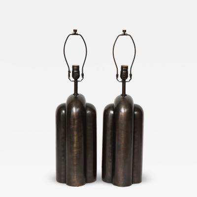 Modernist Gunmetal Bronzed Lamps