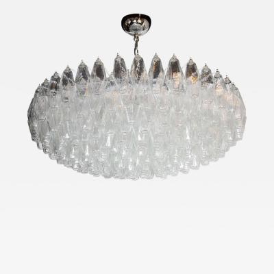 Modernist Handblown Murano Translucent Glass and Chrome Polyhedral Chandelier