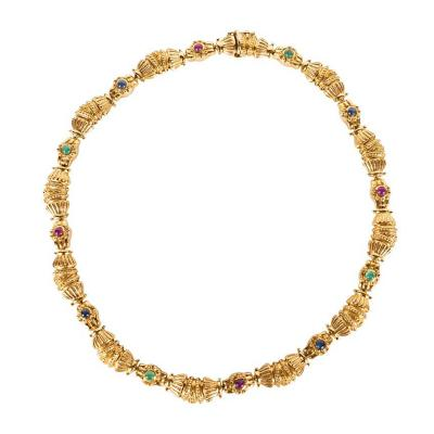 Modernist Italian Classical Cabochon Rubies Emeralds Sapphires Gold Necklace