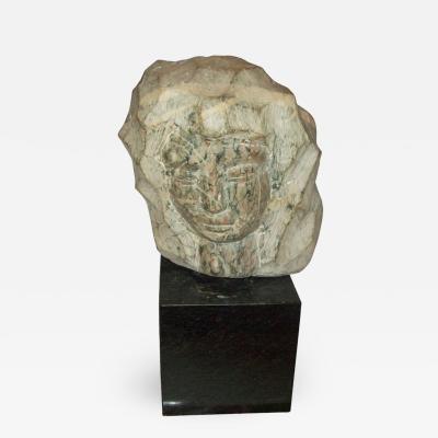Modernist Marble Sculpture on Granite Base