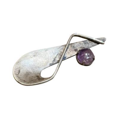 Modernist Mexican Amethyst Sculptural Sterling Silver Slim Brooch Pin 1970s
