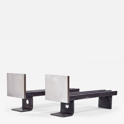 Modernist Pair of Brushed Steel Andirons