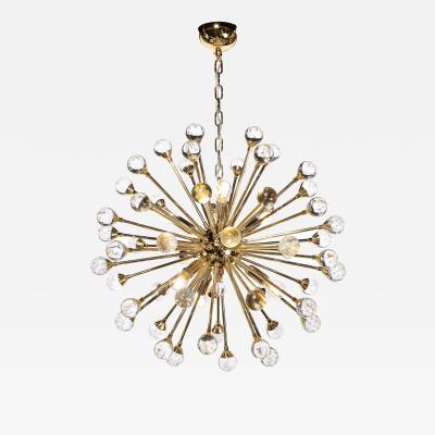 Modernist Polished Brass Sputnik w Handblown Murano Translucent Orbital Points