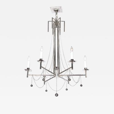 Modernist Polished Nickel Six Arm Chandelier with Chain and Spherical Details