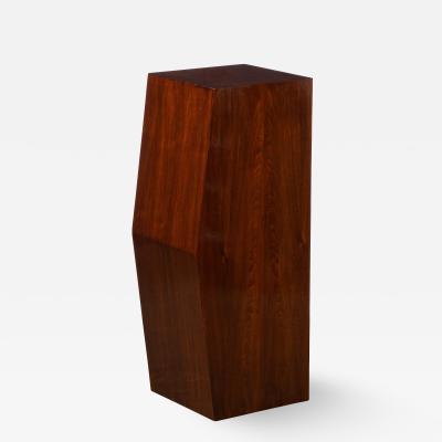Modernist Sculptural Bookmatched Walnut Concave Faceted Minimalist Pedestal