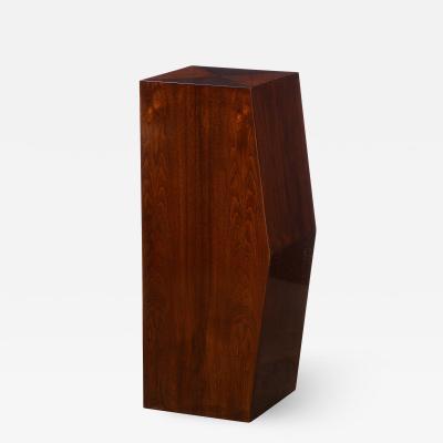 Modernist Sculptural Bookmatched Walnut Convex Faceted Minimalist Pedestal