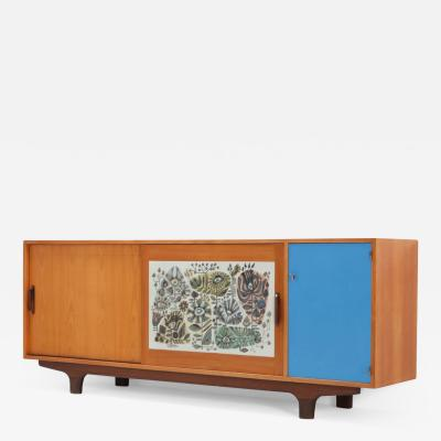 Modernist Sideboard with Perignem Ceramic and Macassar Details 1950s