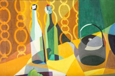 Modernist Still Life Oil on Canvas by Ginx