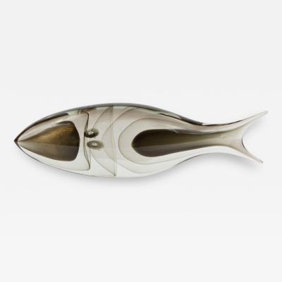 Modernist Stylized Fish Sculpture in Handblown Smoked Translucent Murano Glass