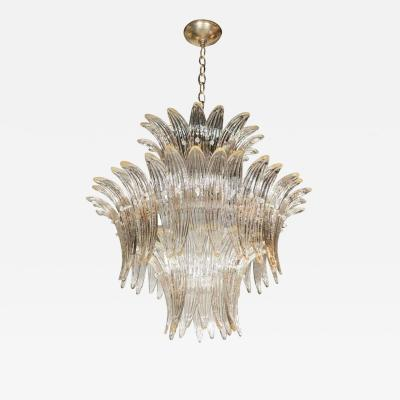 Modernist Three Tier Palma Chandelier in Murano Glass and Brass Fittings