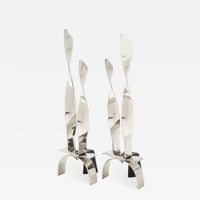 Modernist Twist Andirons
