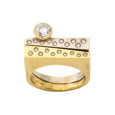 Modernist Two Color Gold Ring and Diamonds