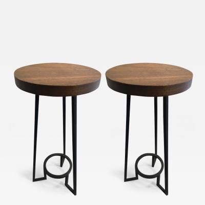 Modernist bauhaus french brutal steel pair of side tables