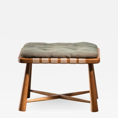Modernist wooden stool with mohair cushion Austria