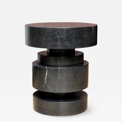 Mogador side table in black marble Designed and executed by James Devlin