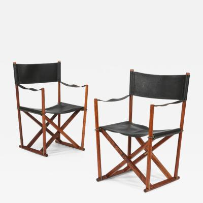 Mogens Koch Pair of Mogens Koch MK 16 foldable armchairs Denmark 1930s