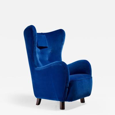Mogens Lassen Mogens Lassen Attributed Wingback Lounge Chair Denmark 1940s