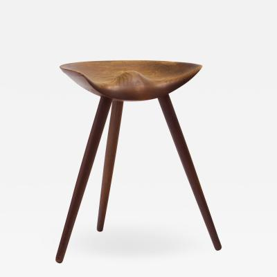Mogens Lassen Mogens Lassen Stool in Solid Teak Mounted on Three Tapering Legs Denmark 1942