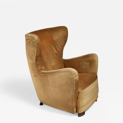Mogens Lassen Mogens Lassen style lounge chair with velour upholstery Denmark 1940s