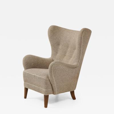 Mogens Lassen Wing back Armchair in the style of Mogens Lassen Denmark c 1940 s