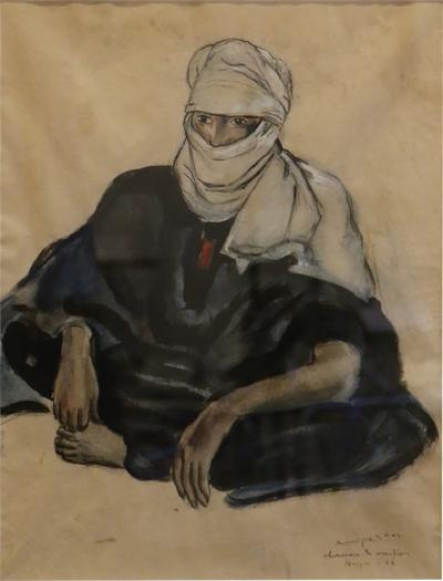 Monique Cras Touareg in Hoggar Gouache by Monique Cras Art Deco 1942