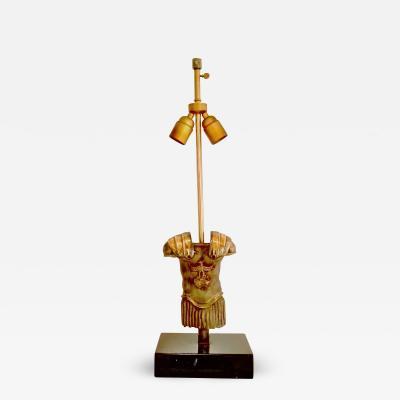 Monique Gerber Centurion torso bronze sculpture table lamp by Monique Gerber France 1970s